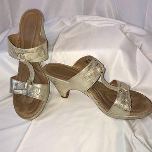 Born Gold Slip On Heeled Sandals Leather & Metal